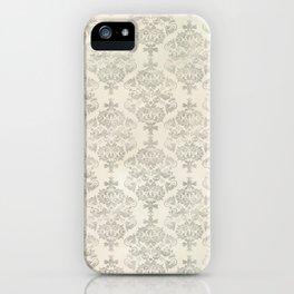 Beige Watercolor Damask Pattern iPhone Case