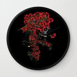 Rose skull girl Wall Clock