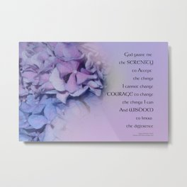 Serenity Prayer Hydrangeas Harmony Lavender Metal Print