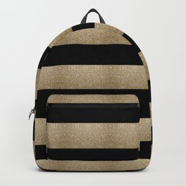 preppy contemporary minimalist great gatsby champagne black gold stripes Backpack