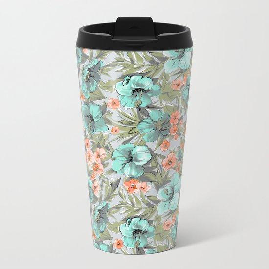 flowers illustration Metal Travel Mug