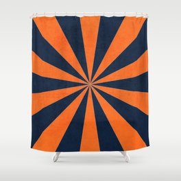navy and orange starburst Shower Curtain