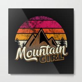 Mountain Girl Women Retro Partner Look Metal Print