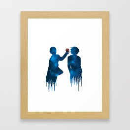Death Note - Light and L Lawliet sihlouettes with apple (blue galaxy) | Anime and manga Framed Art Print