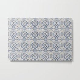 Vintage blue tiles pattern Metal Print