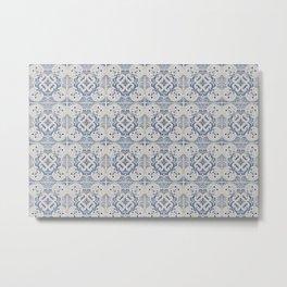 Vintage blue tiles pattern Metal Print