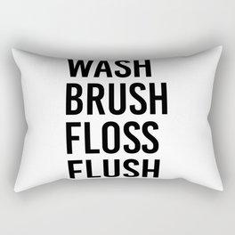 Wash Brush Floss Flush Rectangular Pillow