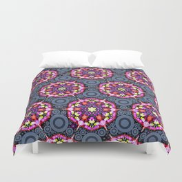 Floral Patterns and Gray Circles Duvet Cover