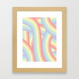 Soft Pastel Rainbow Stripes Pattern Framed Art Print