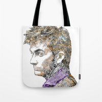 david tennant Tote Bags featuring David Tennant Dr. Who Text portrait by Mike Clements