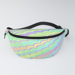 Colorful Holographic Wave Pattern Abstract Rainbow Fanny Pack