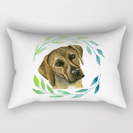 Rhodesian Ridgeback with a Wreath Watercolor Painting Rectangular Pillow