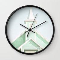 mint Wall Clocks featuring Mint  by Bree Madden