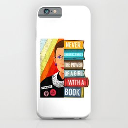 Never Underestimate Power of A Girl With Book RBG Ruth Girls T-Shirt iPhone Case