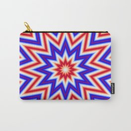Red White and Blue Psychedelic Mandala Star Pattern Carry-All Pouch