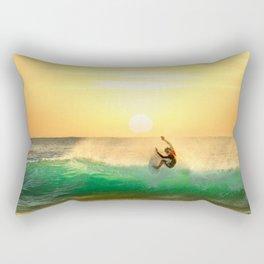 Green Wave with Sun Rising Rectangular Pillow
