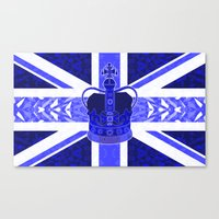 british flag Canvas Prints featuring Royal Blue - British Flag & Crown by Ornaart