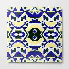 Geometric Aztec - Cobalt and Cornflower Metal Print