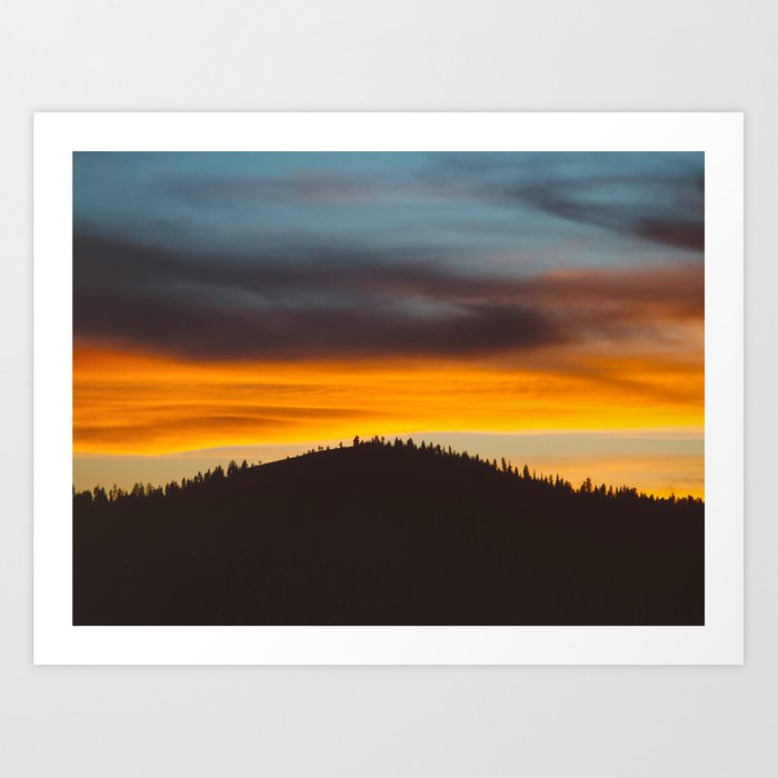 Mountain Hill With Trees Orange And Blue Sunset Clouds Art Print By Enshape