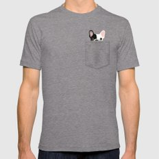Pocket French Bulldog - Pied Tri-Grey Mens Fitted Tee MEDIUM