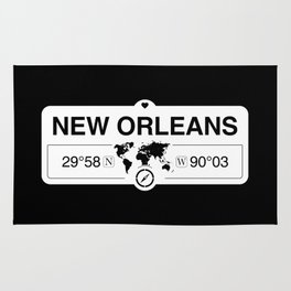 New Orleans Louisiana Map GPS Coordinates Artwork Rug