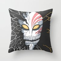 bleach Throw Pillows featuring Bleach Hollow Mask by MadameAce