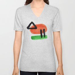 Watercolor drawing Colors Minimalist  Midcentury Modern Colorful Abstract Pop Art Space Age Fun Brig Unisex V-Neck