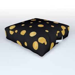 Elegant polka dots - Black Gold Outdoor Floor Cushion