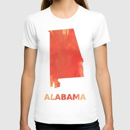 Alabama map outline Tomato stained watercolor texture T-shirt