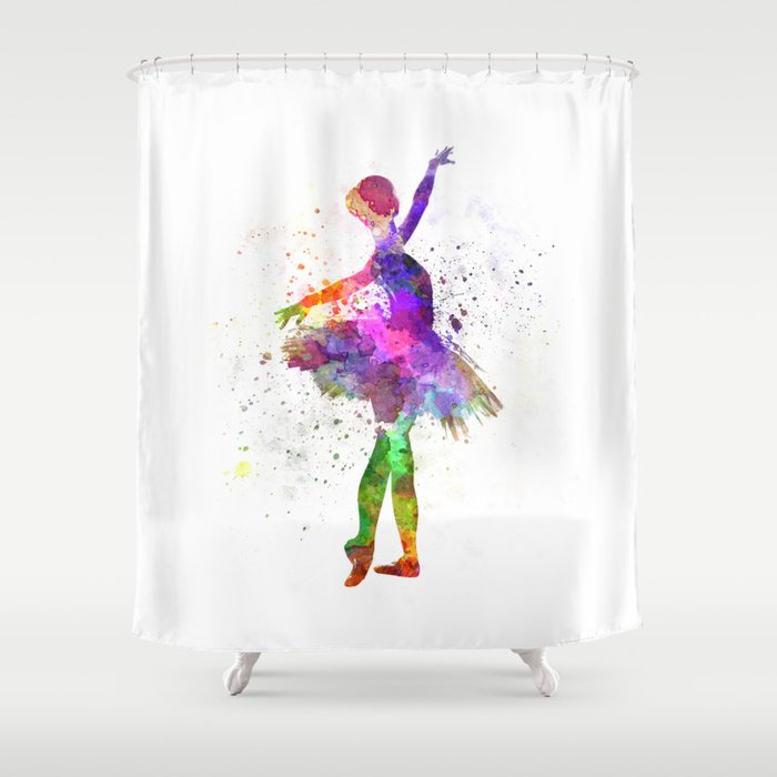 Young Woman Ballerina Ballet Dancer Dancing With Tutu Shower Curtain