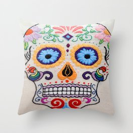 Hand Embroidered Candy Skull Image Throw Pillow
