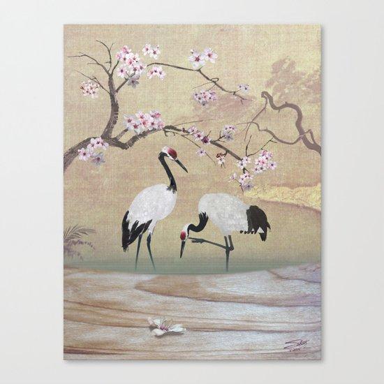 Cranes Under Cherry Tree Canvas Print