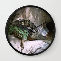 crocodile Wall Clocks featuring crocodile by lennyfdzz