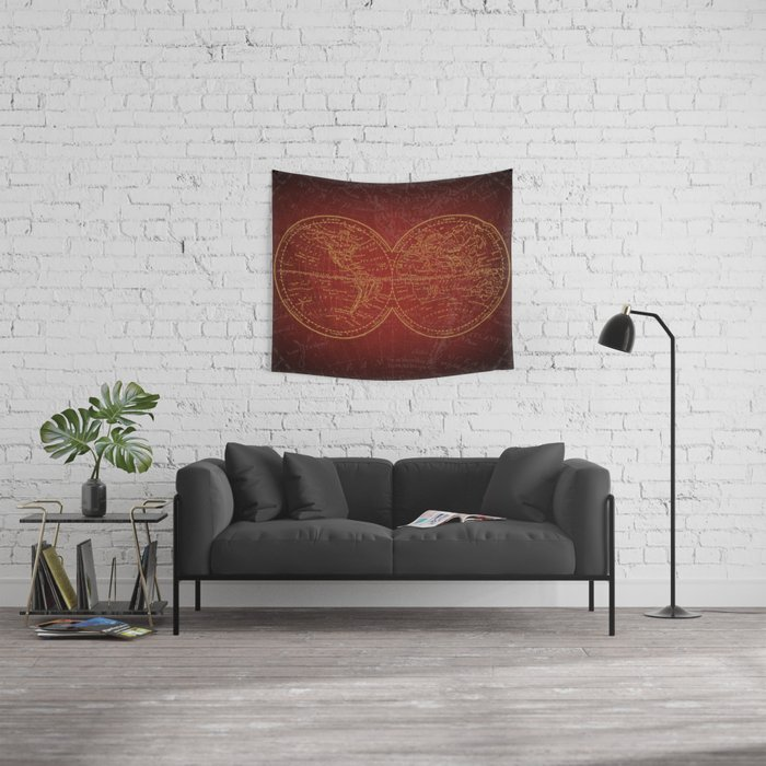 Antique Navigation World Map in Red and Gold Wall Tapestry