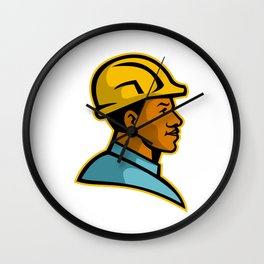 African American Construction Worker Mascot Wall Clock