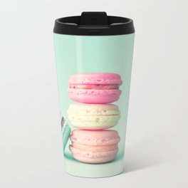 Tower of macarons, macaroons over green mint Metal Travel Mug