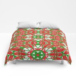 Red, Green and White Kaleidoscope 3376 Comforters