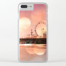 Sparkling pink Santa Monica Pier Clear iPhone Case