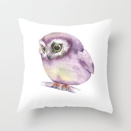 Pink Owl drawn with Watercolours Aquarell Colors  Throw Pillow
