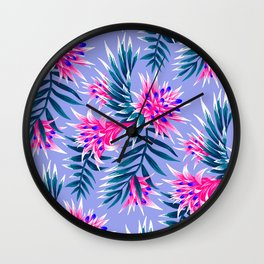 Aechmea Fasciata - Light Blue / Pink Wall Clock