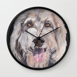 Golden Doodle Art,  Labradoodle art, Doodle dog art Wall Clock