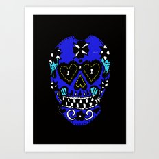 Sugar Skull - Blue Art Print