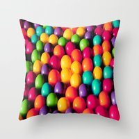 gumball Throw Pillows featuring Rainbow Candy: Gumballs by Whimsy Romance & Fun