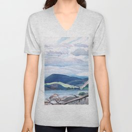 Franklin Carmichael - Lake and Hills - Canada, Canadian Watercolor Painting - Group of Seven Unisex V-Neck