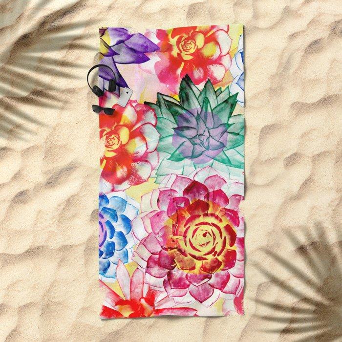 Colorful Succulents  Beach Towel