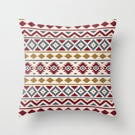 Aztec Essence Ptn III Red Blue Gold Cream Throw Pillow