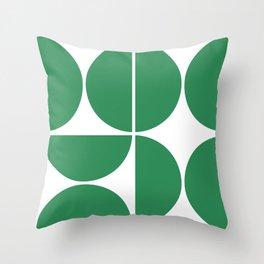 Mid Century Modern Green Square Throw Pillow