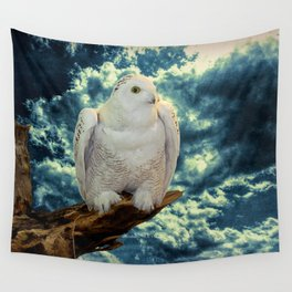 Snowy Owl against Aqua Sky Country Decor A147 Wall Tapestry