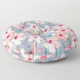 Shabby Chic Hibiscus Patchwork Pattern in Pink & Blue Floor Pillow