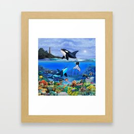 THE ORCA FAMILY Framed Art Print
